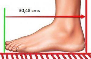 un pie en centímetros
